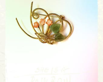 Sixties Coral and Nephrite Brooch