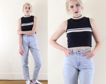 Ribbed 90s Athletic Stripe Cropped Sweater Tank, Knit 90s Crop Top, Baby Rib 90s Grunge Crop Top, Women's Size Small