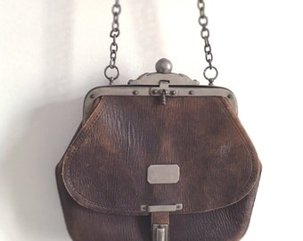 1900s Antique brown leather bag. Victorian French purse.