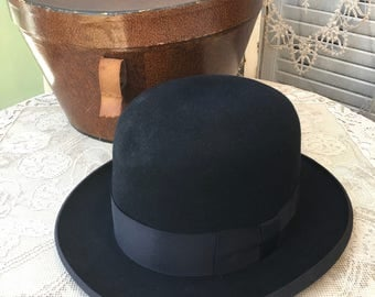 Handsome Antique Bowler Derby Style Gentleman's Hat in Original Bullock & Jones San Francisco Box