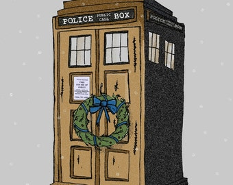 Doctor Who Christmas Card TARDIS Christmas Card Geeky Card Police Box Christmas Card