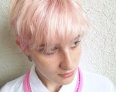 The triple braid necklace - handmade in bubble gum pink fabric