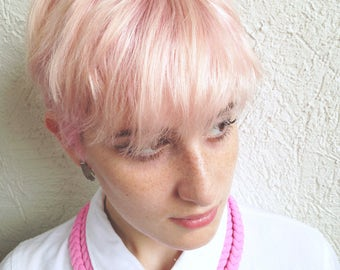 pink necklace, girly necklace, cute necklace, choker - The triple braid necklace - handmade in bubble gum pink fabric