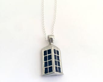 Police Box  Tardis Cremation urn necklace Pet Ashes Necklace, Funeral Flowers vessel, Mom, Dad, Loved one, Pet