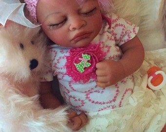 Completed Bi Racial Chandra Completed Reborn Baby Doll from the Aisha 20 inch kit with Painted Hair