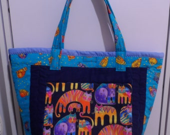 Laurel Burch Tote Bag - Handmade Tote Bag - Felines Tote Bag - Tote Bag - Laurel Burch Print - Handbag Tote Bag - Market Tote Bag