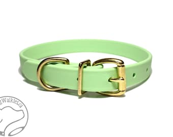 "Mint Pastel Green 3/4"" (19mm) Beta Biothane Dog Collar - Leather Look and Feel - Custom Dog Collar - Stainless Steel or Brass Hardware"