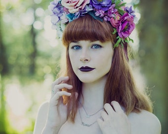Flower Crown and White Antler Headpiece
