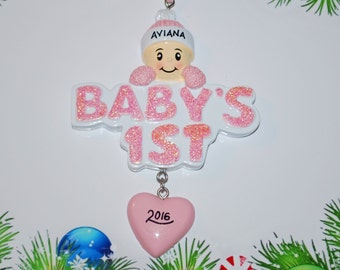 Personalized Baby's 1st Christmas Ornament (Girl)
