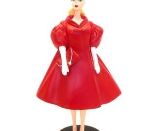 "Danbury Mint Barbie Figurine ""The 1962 Barbie Red Flare""  1993 Mattel With Certificate of Authenticity, Six Inch Barbie Figurine"
