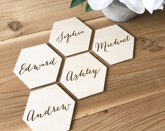 Hexagon place cards, geometrical place cards, wedding table decor, place card names