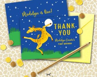 Dancing Giraffe Thank You Note Cards Printable - Giraffes can't dance