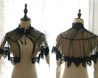Great Gatsby Victorian Capelet High Collar Black Lace Tulle Goth Gothic Capelet Cape Romantic Sheer Poncho Shawl Top  bolero Steampunk