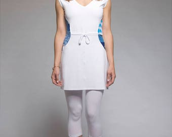 Sleeveless tunic with V-neck and patchwork - White tunic - 4 seasons tunic - made in Quebec - Ecodesigner