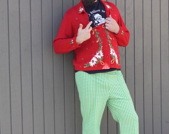 Christmas Cardigan - Vintage Ugly Christmas Sweater Cardigan With Collar And Holiday Embroidery - Unisex - Medium
