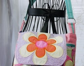 Small Satchel, Small Messenger, Small Diaper Bag, Upcycled Recycled Repurposed, Floral Bag, Floral Purse, Small Purse, Shoulder Bag,