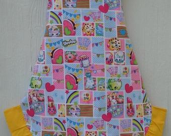 Shopkins Apron, Little Girl Apron, Ready to Ship, Reversible Apron, Cute Apron