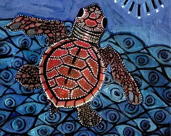 Evil Eye Baby Sea Turtle Giclee Print 8x10/ Protection Painting
