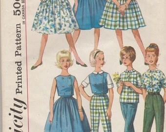 1960s Teen Wardrobe Pattern Simplicity 4540 Juniors Size 14