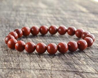 8mm Red Jasper Bracelet, Mens Bracelet, Womens Bracelet, Bead Bracelet, Gemstone Bracelet, Stretch Bracelet, Yoga Bracelet, Gifts