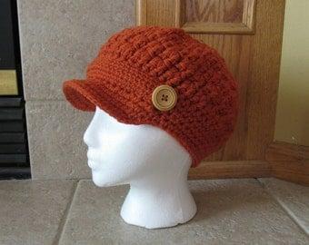 Newsboy Hat, Crochet Newsboy Hat, Knit newsboy cap,  Womens Hat, orange, burnt orange, Easter, button, maryjane