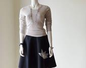 Black Flare Skirt w/Ivory Applique