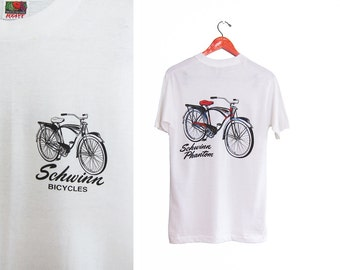vintage t shirt / Schwinn t shirt / vintage bike t shirt / 1990s white Schwinn Phantom bicycle t shirt Small