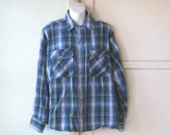 Vintage Green/Black/Blue Flannel Shirt - '90s Field & Stream Outdoor Shirt - Men's Medium/Women's Large Flannel Shirt - Chollo Shirt; Gang