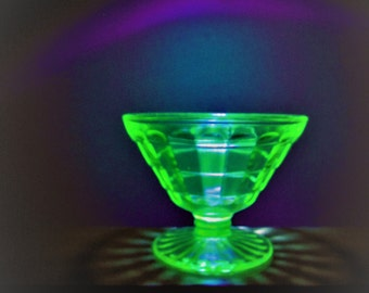 Vaseline Glass Sherbet Block Optic by Anchor Hocking Green Depression Glass Cone Shaped Champagne Glass