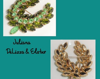 D&E JULIANA DeLizza Elster Two Tone Light Olive Shades Of Green Large Vintage Rhinestone Brooch