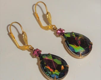 Tear Drop Pear WATERMELON Vitreil Vitrail Pink Crystal Rhinestone Lever Back Pierced Dangle Earrings