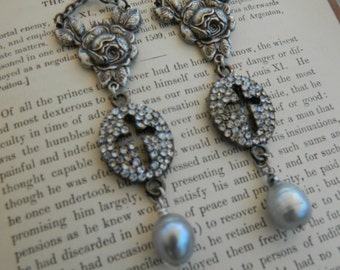 SACRED ROSE ROSARY connector earrings repurposed assemblage jewelry dangle chandelier grey pearl cross pave silver atelier paris on etsy
