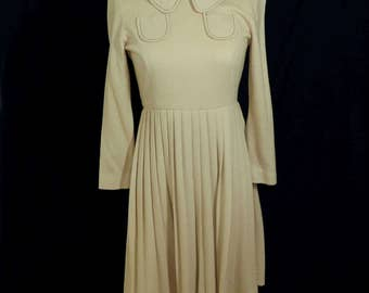 Vintage 1960s I. Magnin Dress Beige/Tan Color