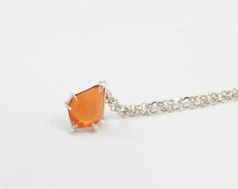 Orange Fire Opal Necklace, Fire Opal Pendant