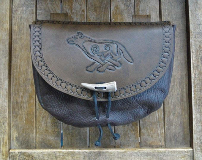 Celtic Wolf Leather Pouch, Medieval Renaissance Belt Bag, Viking, Tooled - Deluxe