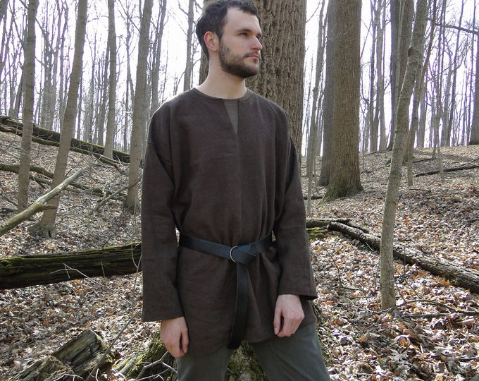 Medieval Shirt Tunic 4 Colors - Long Sleeve - Linen, Viking Archer, Mens Large One Size