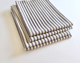Cloth Napkins - Large Blue French Ticking Stripe Napkins - Set of 4 - Dinner Napkins - Wedding Napkins