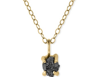 1 Carat Rough Black Diamond Necklace, Recycled 14k Yellow Gold