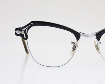 Vintage 50's Black Engraved Aluminum Cat Eye Eyeglasses