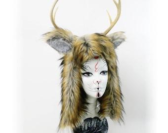 Furry Faun antler costume headdress