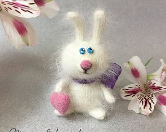 Knitted Bunny, White Rabbit, White Bunny Knitted by Marina Lubomirsky