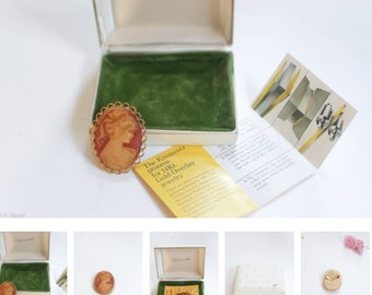 Vintage Cameo Brooch. - 14kt. Gold Overlay Authentic Krementz box & papers.