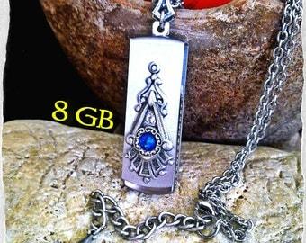 USB Pendant Victorian Gothic Swarovski Pendant Necklace Flash Drive Memory Stick Pendant Victorian Gothic Jewelry