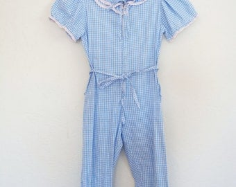Vintage Jumpsuit Blue Gingham Romper Cherri Lynn