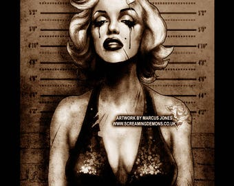 Marilyn Monroe Mugshot Art Print by Marcus Jones