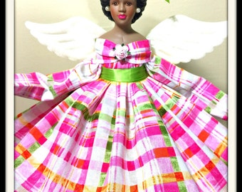 Black Angel Gift, Pink and Green Gift Angel, Mother's Day Love Token, African American Angel Tree Topper, OOAK Black Porcelain Angel