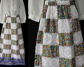 Mr. Hank Maxi Skirt, Hippi Boho Chic, Patchwork, Gypsy Peasant Skirt