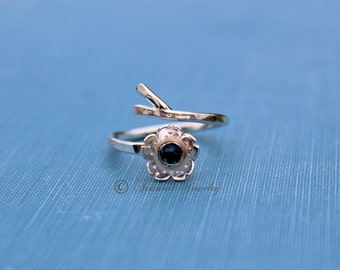 Birthstone Sakura Ring, Japanese Cherry Blossom Branch Adjustable Ring, Sterling Silver Cherry Blossom Ring, mommy jewelry, gift present