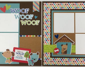 Pre-made Dog Scrapbook Page Layout 2 pages 12x12 Pet Puppy