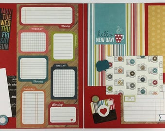Pre-made Scrapbook Page Layout 2 pages 12x12 Family Friends Everyday